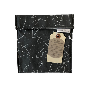 Reusable Snack and Sandwich Bag Grey Constellation Singapore