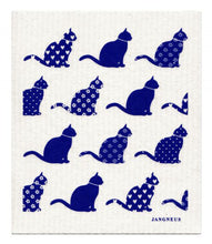 Swedish Dishcloth Blue Cats