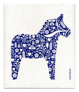 Swedish Dishcloth Blue Dala Horse