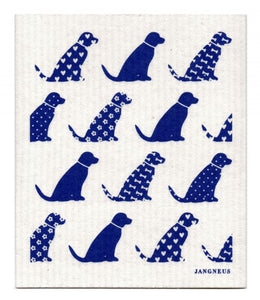 Swedish Dishcloth Blue Dogs