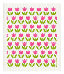 Swedish Dishcloth Pink Tulips