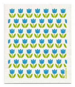 Swedish Dishcloth Turquoise Tulips