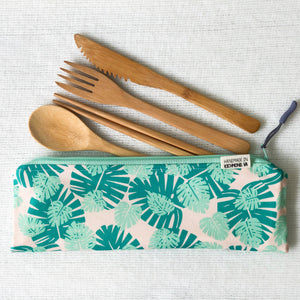 Travel Bamboo Cutlery Pouch Set Monstera Leaf Singapore