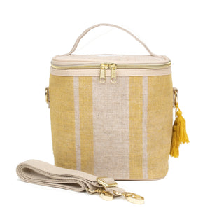 SoYoung Petite Lunch Bag Mustard Stripes Linen Singapore