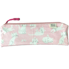 Travel Bamboo Cutlery Pouch Set Pink Cats Singapore