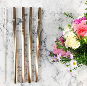 Rose Gold Straw with Straw Cleaner