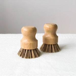 Short Handle Bamboo Dish Washing Brush with Plant Fibre Bristles Singapore