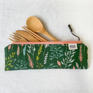 Travel Bamboo Cutlery Pouch Set Winter Seedlings Singapore