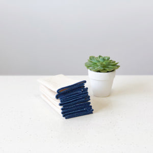 Organic Unbleached Cotton Muslin Navy Blue Handkerchief Singapore