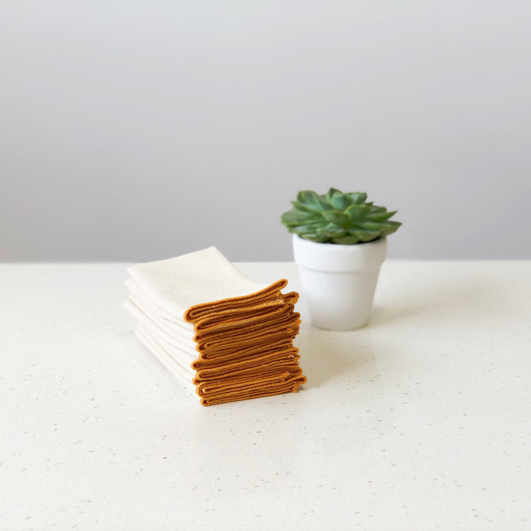 Organic Unbleached Cotton Muslin Golden Orange Handkerchief Singapore