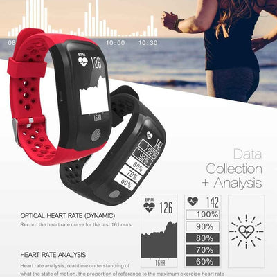 Bluetooth Smart Bracelet GPS Tracker IP68 Waterproof Heart Rate Monitor Fitness Tracker