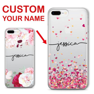 Custom Name Floral Soft Case For iPhone & Samsung