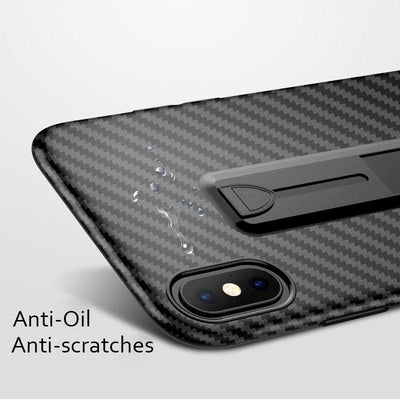 Carbon Fiber Ring Stand Shockproof Case for iPhone