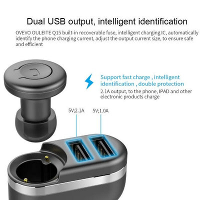 Mini Car Charger Wireless Bluetooth Earbud
