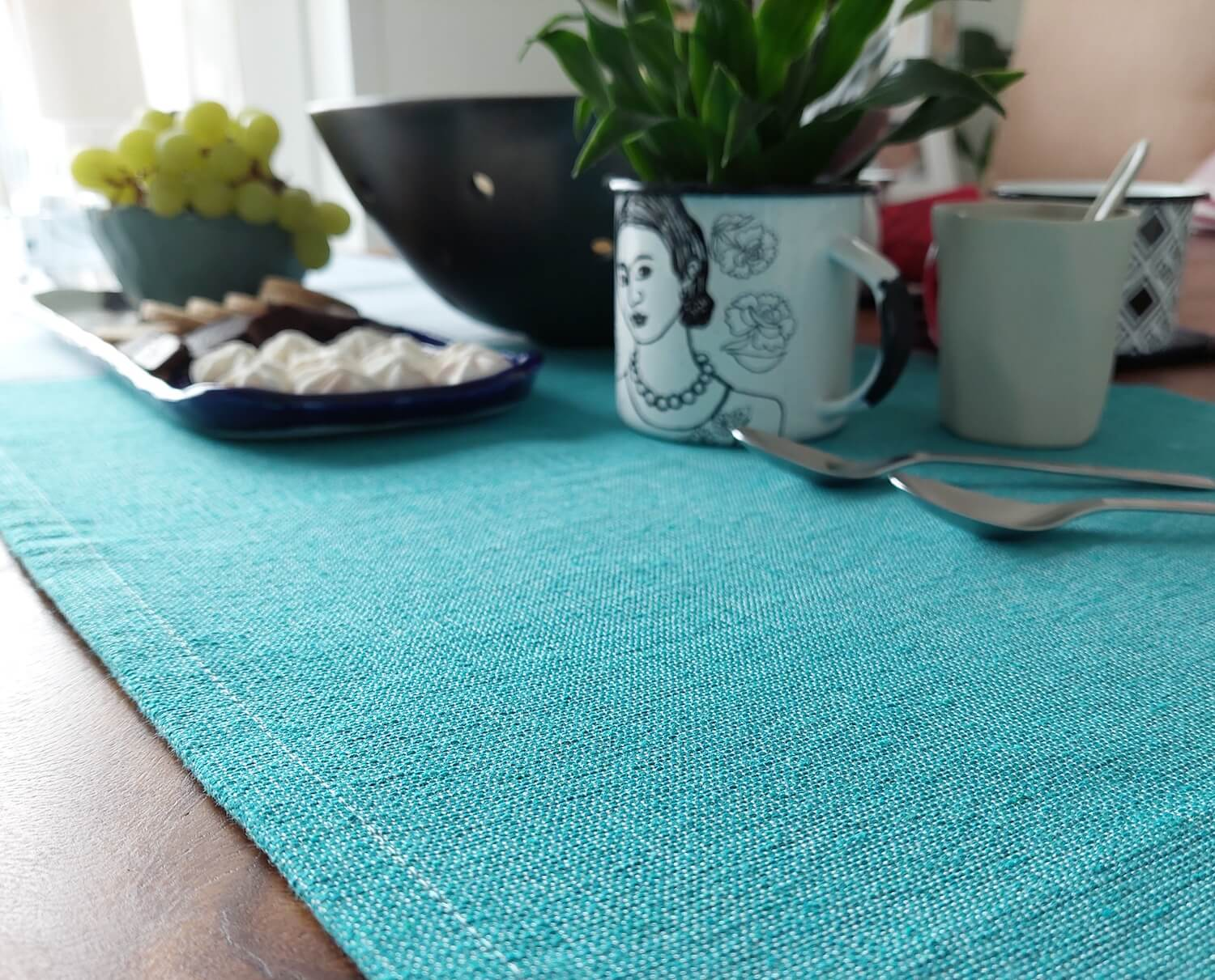 Artisan made cotton table runner acqua for coffee table setting