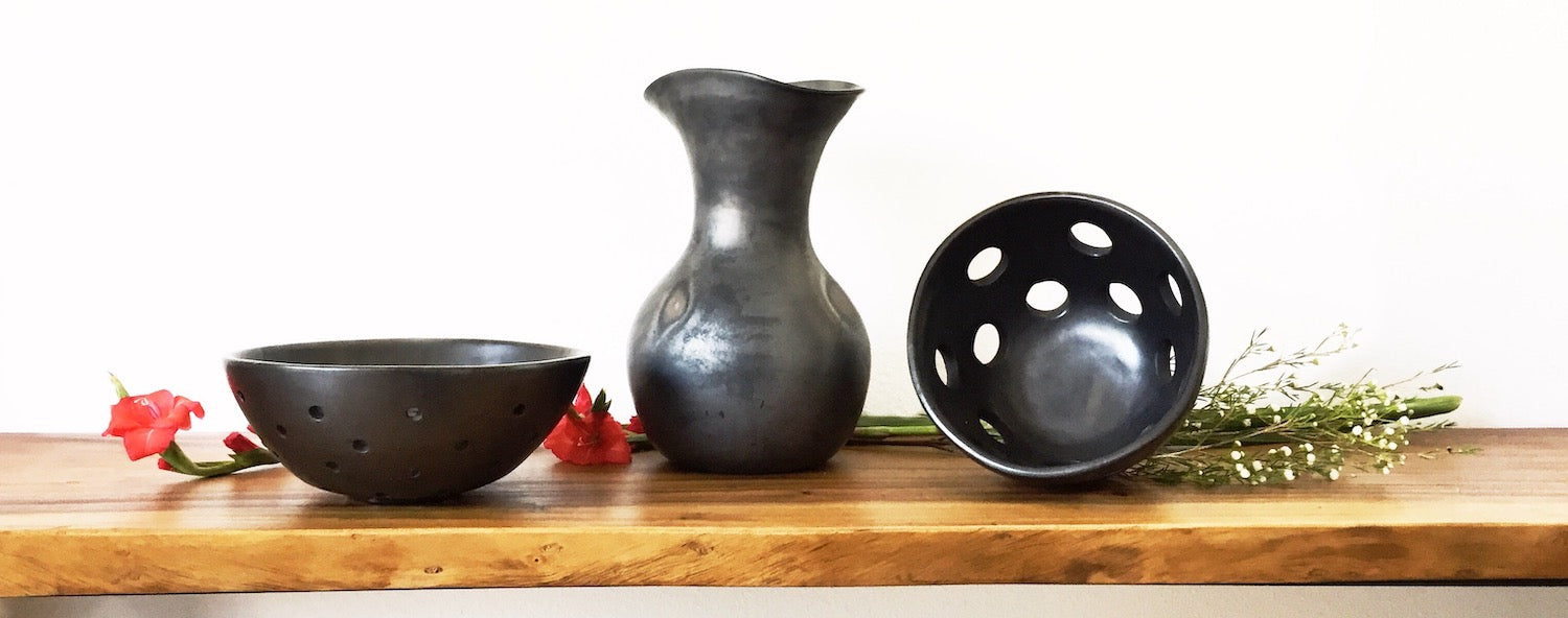 Black Clay pottery made by Mexican designe