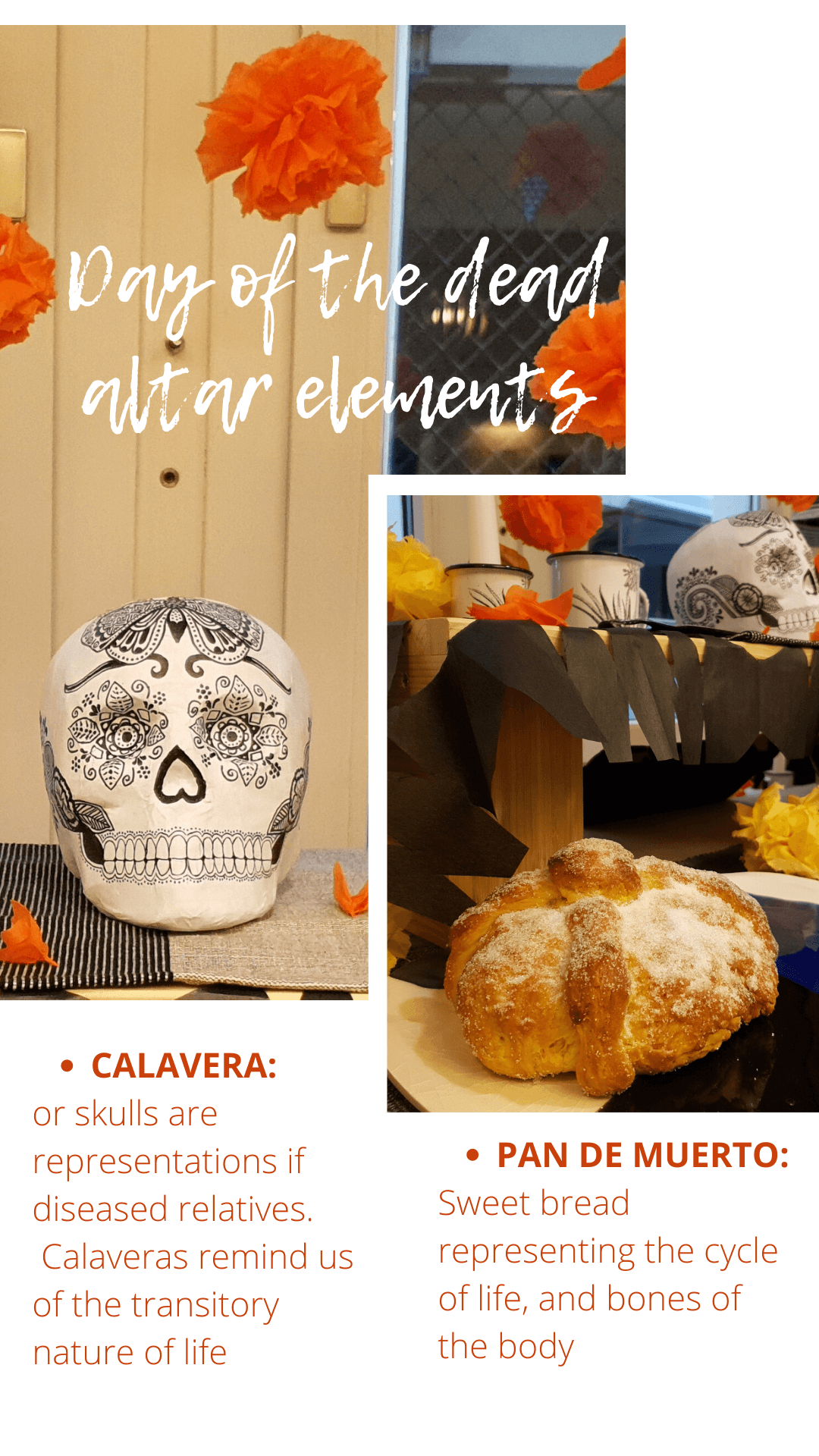 Day of the dead altar elements, calavera, pan de muerto