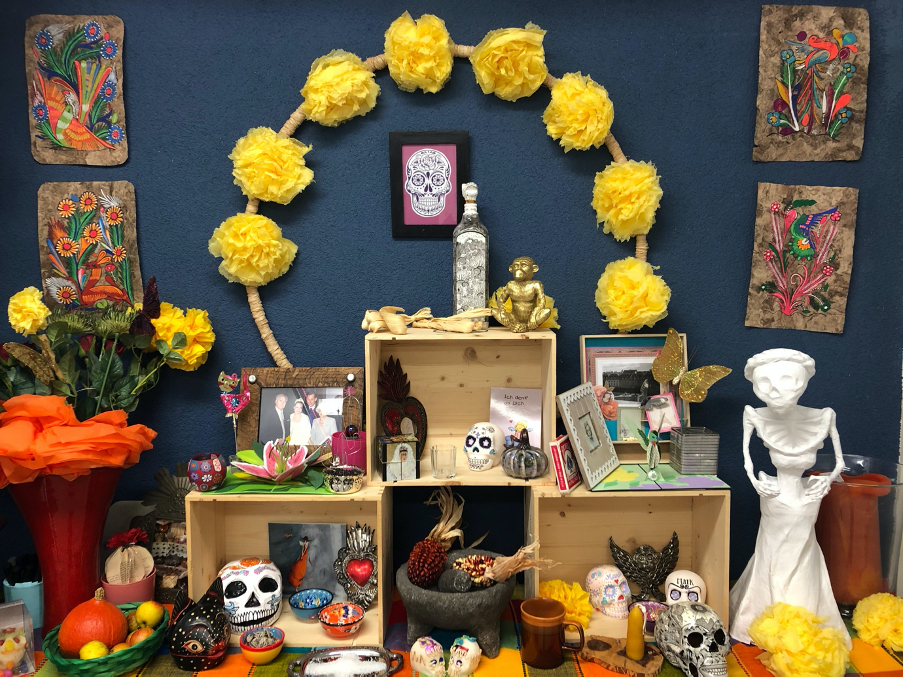 Day of the dead altar with memorabilia