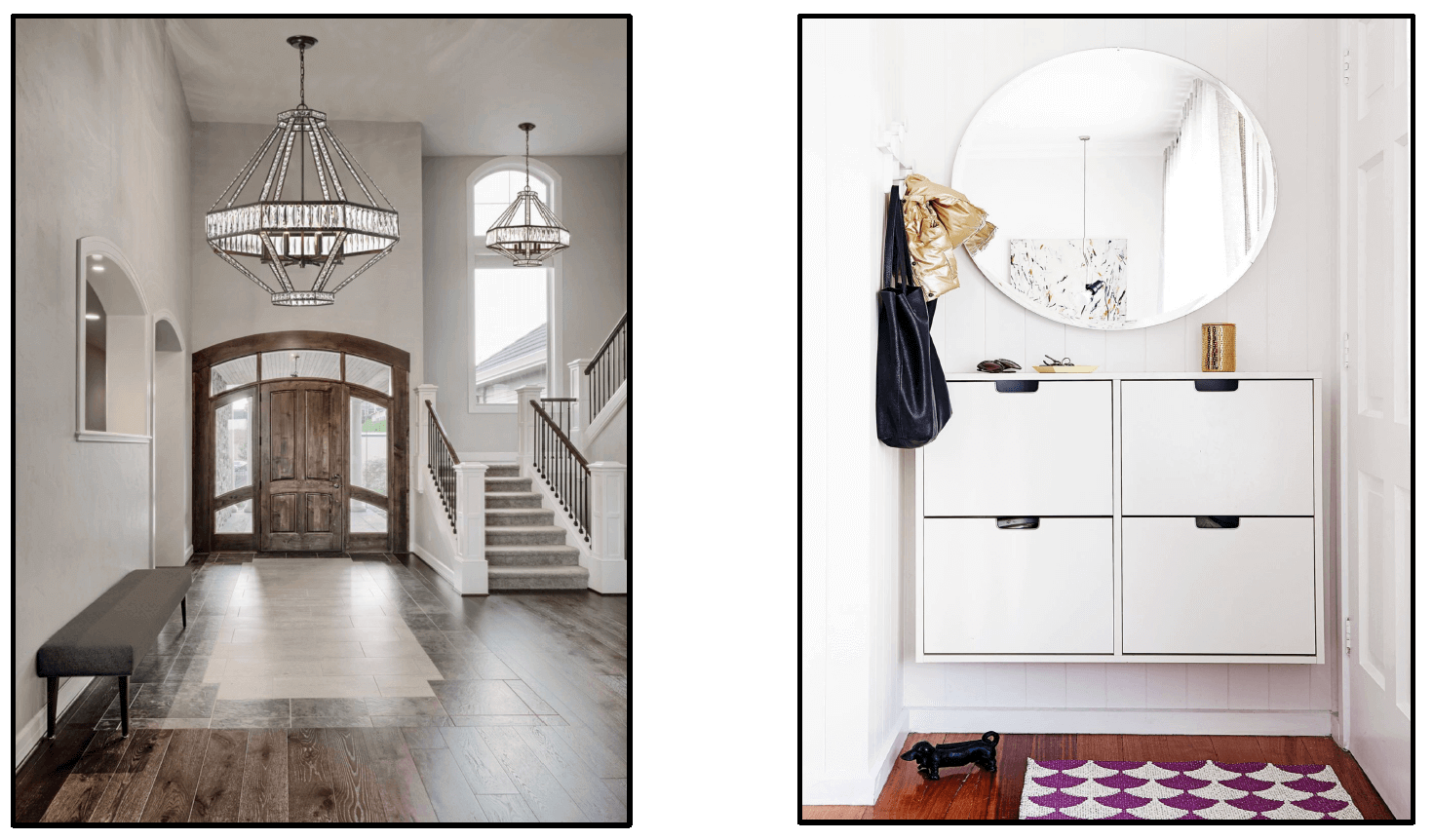 Entryway examples of large and small spaces