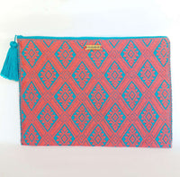Handwoven Laptop Textil Case - Acqua & Coral Laptop Cover Cotton