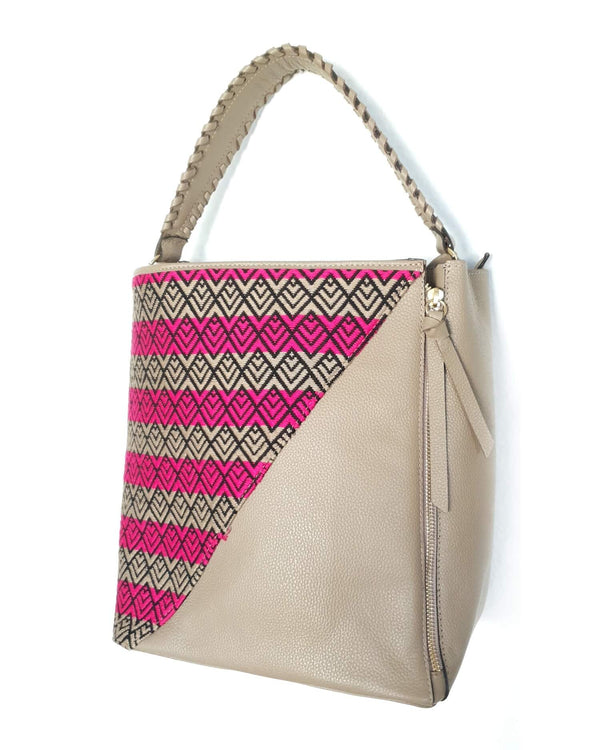 Beige Leather Handbag with Handmade Textile side view