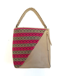 Beige Leather Handbag with Handmade Textile