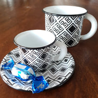 Enamel Coffee Cup - Black & White Mug with Geometric Mexican Textiles