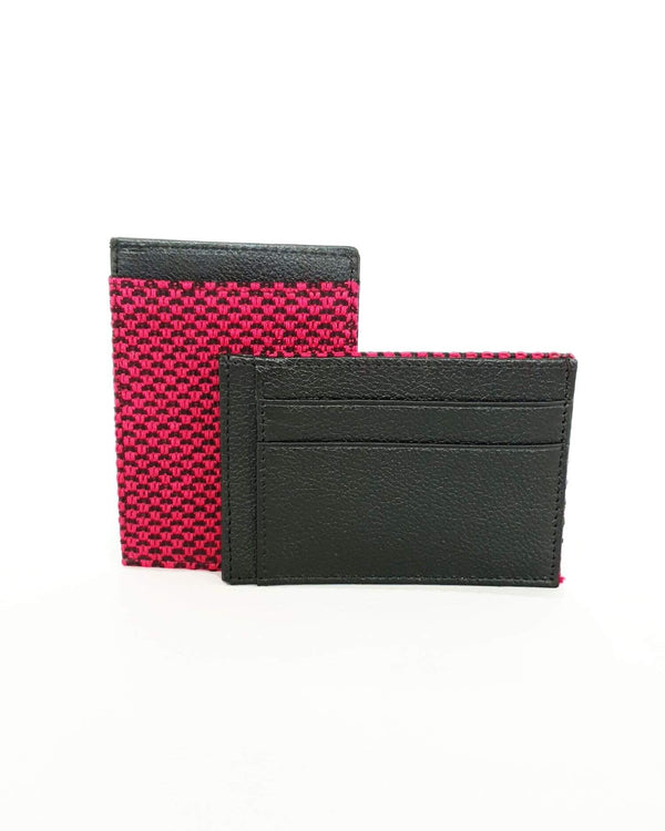 Leather Card Holder Wallet - Handmade - Raspberry, Turquoise & Lilac