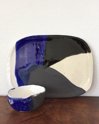 Cheese Platter Set in Blue, White & Black fron view with one bowl