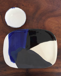 Cheese Platter Set in Blue, White & Black with one bowl top view
