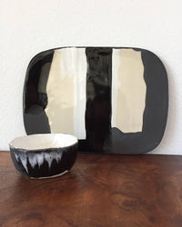 Cheese Platter Set in White & Black with one bowl front view