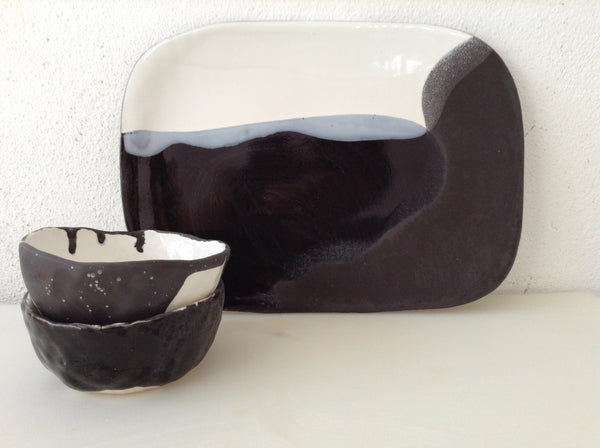 Cheese Platter Set in White & Black with Two Bowls