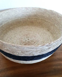 Circular Palm Bread & Fruit Basket with black stripe detail