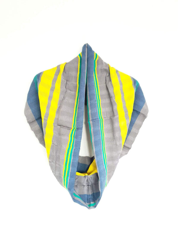 Cotton Infinity Scarf Handwoven Grey, Blue & Yellow