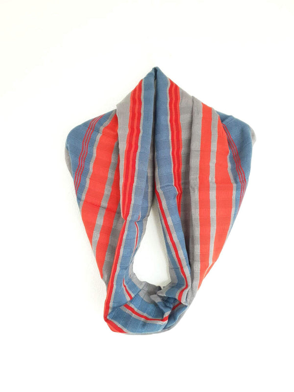 Cotton Infinity Scarf Handwoven Grey, Blue & Red