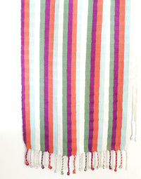 Cotton Shawl Wrap & Scarf with Coral, Blue & Yellow Stripes Handwoven