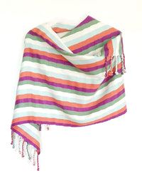 "Cotton Shawl Wrap ""Rebozo"" with Coral, Purple & Green Stripes"