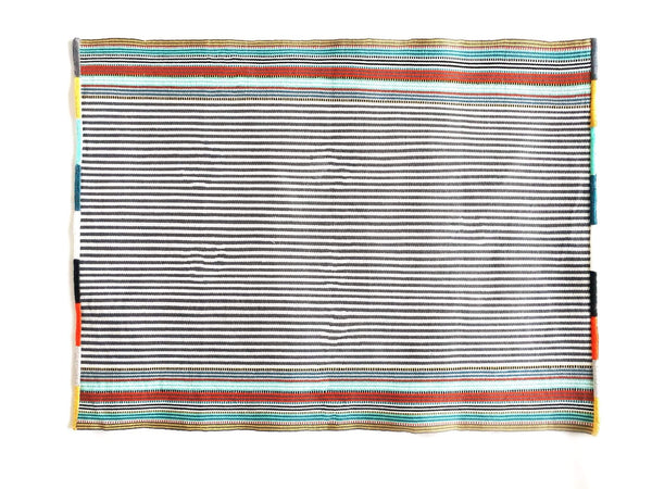 Cotton Placemat Grey with Color Stripes Handwoven Nachig