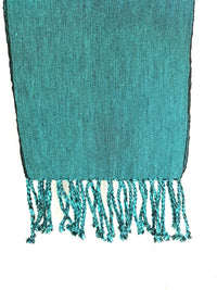 Cotton Scarf Dark Aqua Handwoven Taabal