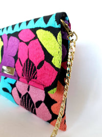 Cross Body & Clutch Bag with Embroidered Flowers in Blue, Purple & Pink side view