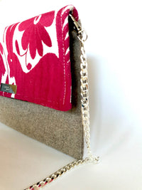 Cross Body & Clutch Bag with Embroidered Flowers in Grey & Burgundy Red side view