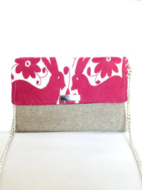 Cross Body & Clutch Bag with Embroidered Flowers in Grey & Burgundy Red