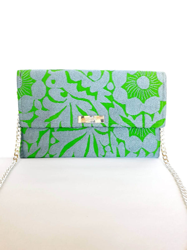 Cross Body & Clutch Bag with Embroidered Flowers in Grey & Green