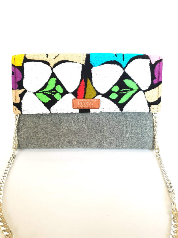 Cross Body & Clutch Bag with Embroidered Flowers in Grey, White, Blue & Green