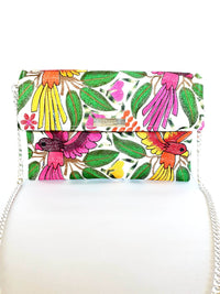 Cross Body & Clutch Bag with Embroidered Flowers and Birds in Pink, Green, Orange - Handmade Draco