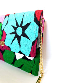 Cross Body & Clutch Bag with Embroidered Flowers in Sky Blue, Green, Burgundy side view