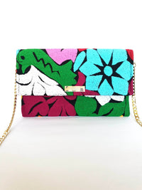 Cross Body & Clutch Bag with Embroidered Flowers in Sky Blue, Green, Burgundy