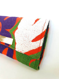 Embroidered Flowers Wallet in Orange, Purple & White Cotton - Handmade Draco