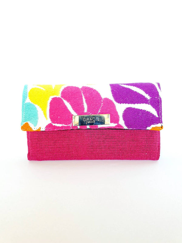 Embroidered Flowers Wallet in Pink & Purple - Handmade Draco