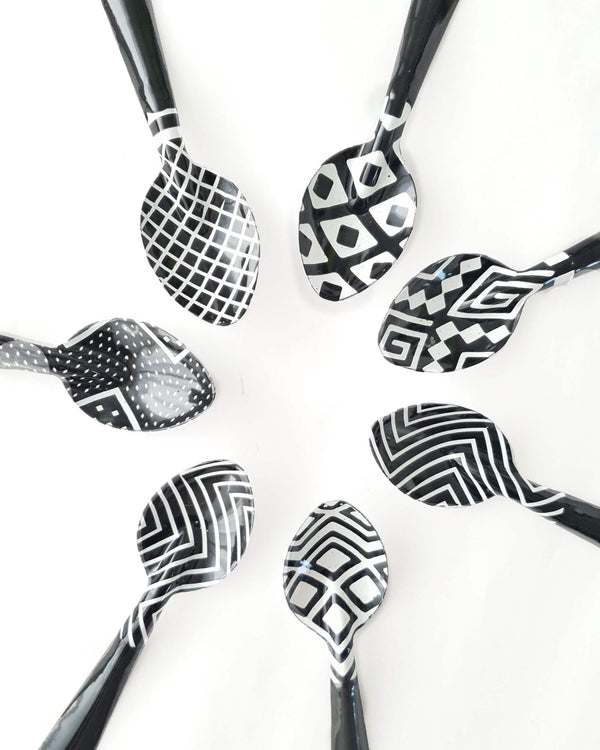 Small Enamel Spoon Black & White